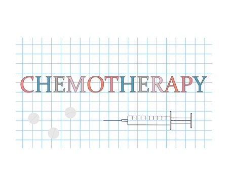 Chemotherapy word on checkered paper sheet- vector illustration