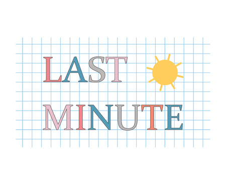 last minute written on checkered paper sheet- vector illustration Vettoriali