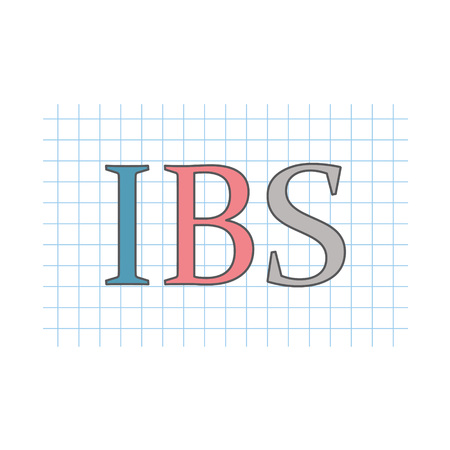 IBS (Inflammatory Bowel Syndrome) written on checkered paper sheet Illustration