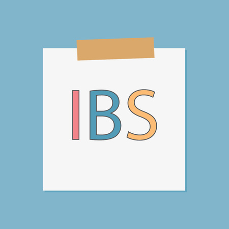 IBS (Inflammatory Bowel Syndrome) written in notebook paper- vector illustration