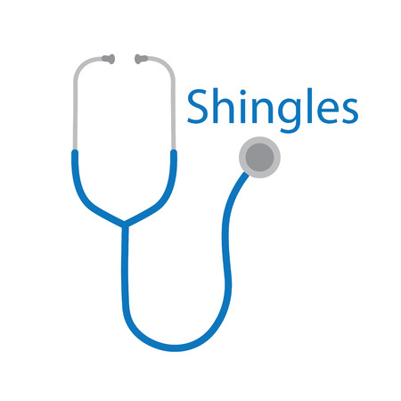 Shingles text and stethoscope icon vector illustration.