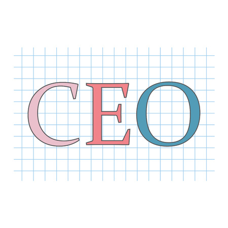 CEO (Chief Executive Officer) acronym on checkered paper sheet- vector illustration