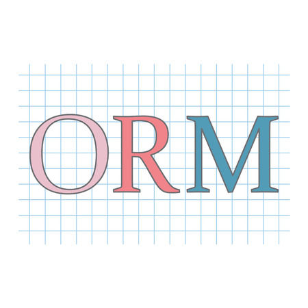 ORM (Online Reputation Management) acronym on checkered paper sheet vector illustration Vettoriali