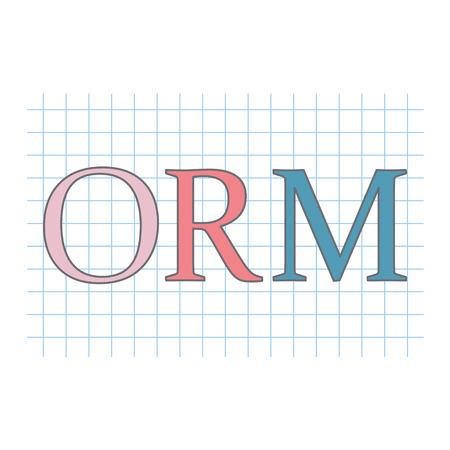 ORM (Online Reputation Management) acronym on checkered paper sheet vector illustration Stock Illustratie