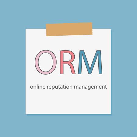 ORM (Online Reputation Management) written in notebook paper vector illustration