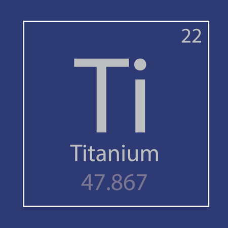 Titanium Ti chemical element icon on royal blue square frame.