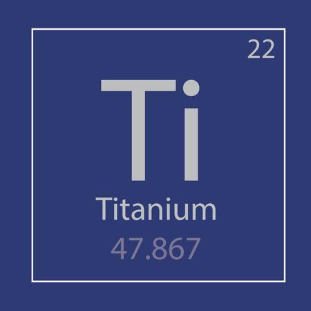 Titanium Ti chemical element icon on royal blue square frame. Banco de Imagens - 100105377