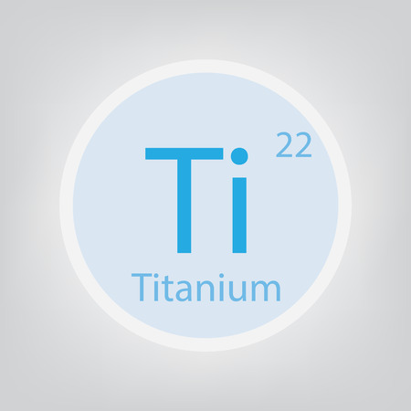 Titanium Ti chemical element icon on rounded frame Illustration.