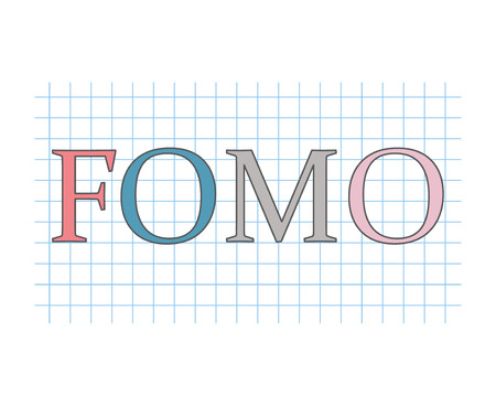 FOMO, fear of missing out typography illustration in graphing paper background. 向量圖像