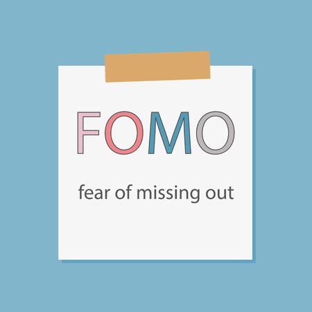FOMO, fear of missing out typography illustration in piece of paper stick in blue background.