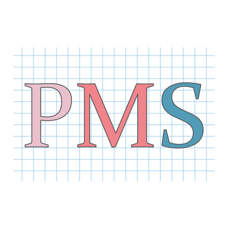 PMS (Premenstrual Syndrome) acronym on checkered paper sheet- vector illustration