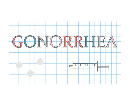 Gonorrhea word on checkered paper sheet- vector illustration