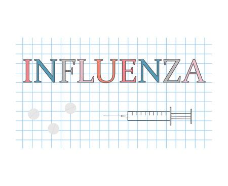 Influenza word on checkered paper sheet vector illustration Ilustração