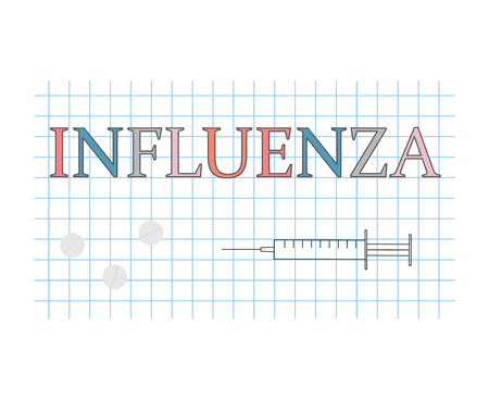 Influenza word on checkered paper sheet vector illustration Illustration