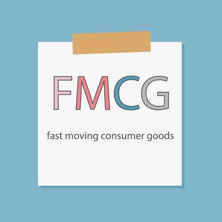 FMCG Fast Moving Consumer Goods written in notebook paper- vector illustration