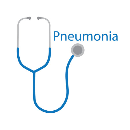Pneumonia text and stethoscope icon- vector illustration