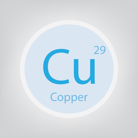 Copper Cu chemical element icon vector illustration. Ilustração