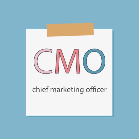 CMO Chief Marketing Officer written in a notebook paper- vector illustration