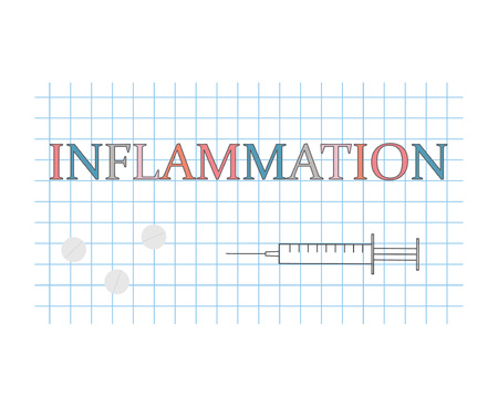 inflammation word on checkered paper sheet- vector illustration