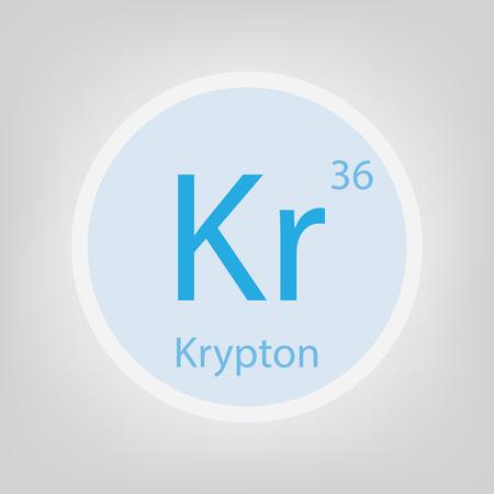 Krypton Kr chemical element icon- vector illustration