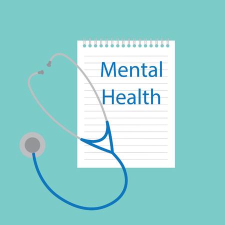 Mental Health written in notebook- vector illustration. Illustration