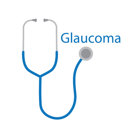 Glaucoma word and stethoscope icon. Illustration