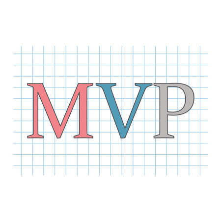 MVP (minimum viable product) acronym on checkered paper sheet- vector illustration Illustration