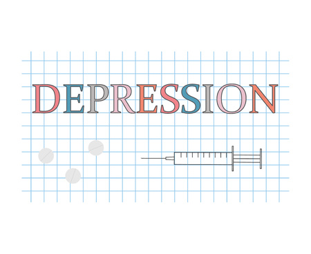 depression word on checkered paper sheet- vector illustration