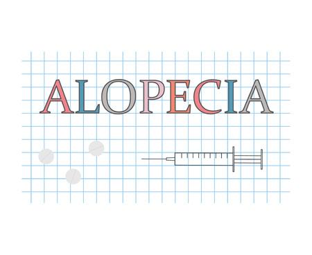 alopecia word on checkered paper sheet- vector illustration Ilustracja