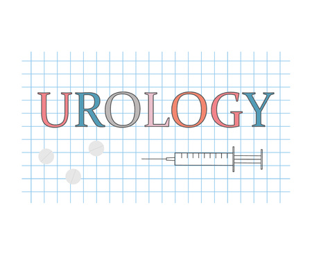 urology word on checkered paper sheet- vector illustration
