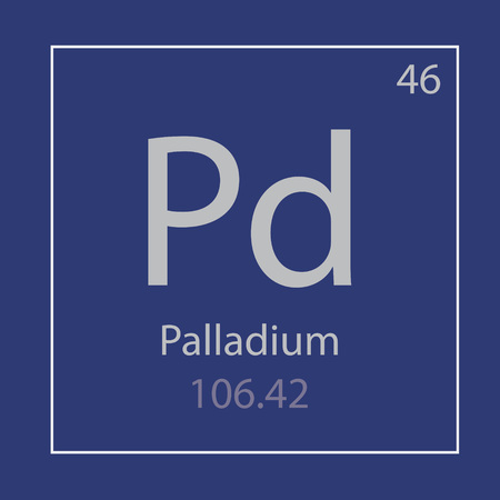 Palladium Pd chemical element icon- vector illustration