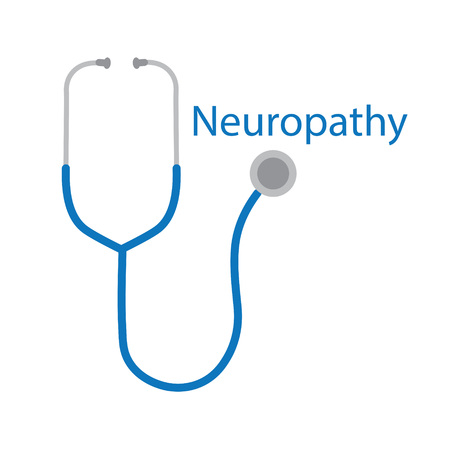 Neuropathy word and stethoscope icon- vector illustration