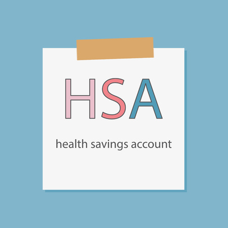 HSA health savings account written in a notebook paper- vector illustration Ilustrace