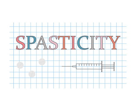 spasticity word on checkered paper sheet- vector illustration