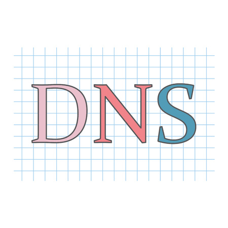 DNS (Domain Name System) written on checkered paper sheet- vector illustration