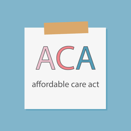 ACA Affordable Care Act written in a notebook paper- vector illustration