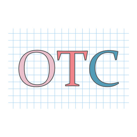 OTC (Over The Counter) written on checkered paper sheet- vector illustration Vettoriali