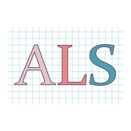 ALS (Amyotrophic Lateral Sclerosis) written on checkered paper sheet- vector illustration