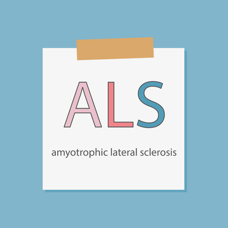 ALS Amyotrophic Lateral Sclerosis written in a notebook paper- vector illustration