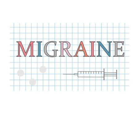 migraine word on checkered paper sheet- vector illustration Illustration