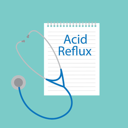 Acid reflux written in notebook- vector illustration Illustration