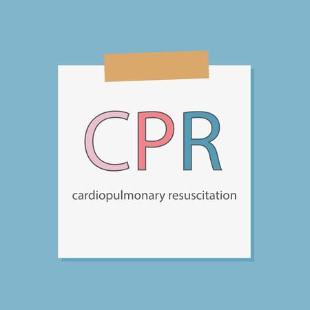 CPR Cardiopulmonary Resuscitation written in a notebook paper- vector illustration