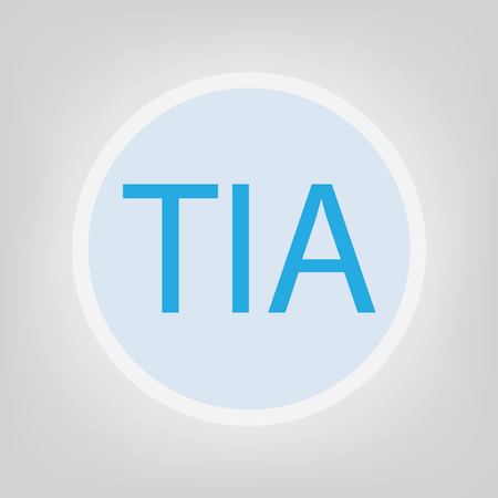 TIA (Transient Ischemic Attack) word on grey background