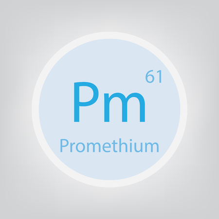 Promethium Pm chemical element icon- vector illustration