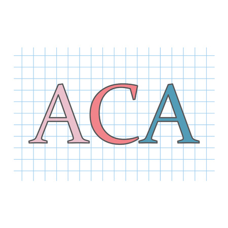 ACA (Affordable Care Act) written on checkered paper sheet- vector illustration