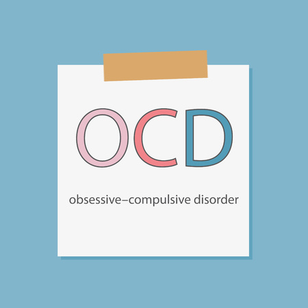 OCD Obsessive Compulsive Disorder written in a notebook paper- vector illustration