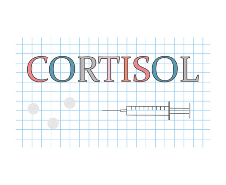 cortisol word on checkered paper sheet- vector illustration
