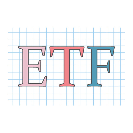 ETF (exchange-traded fund) written on checkered paper sheet- vector illustration