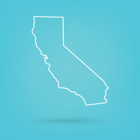 abstract white map of California- vector illustration
