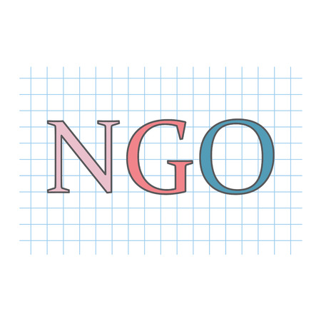 NGO (Non-Governmental Organization) written on checkered paper sheet- vector illustration